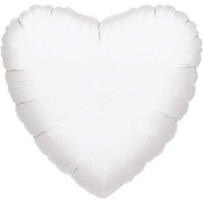 Balon folie inima jumbo alb metalic 81 cm