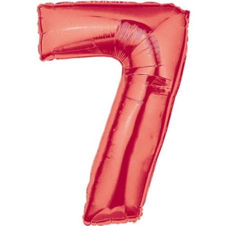 Balon folie figurina rosie cifra 7