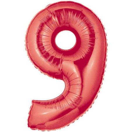Balon folie figurina rosie cifra 9