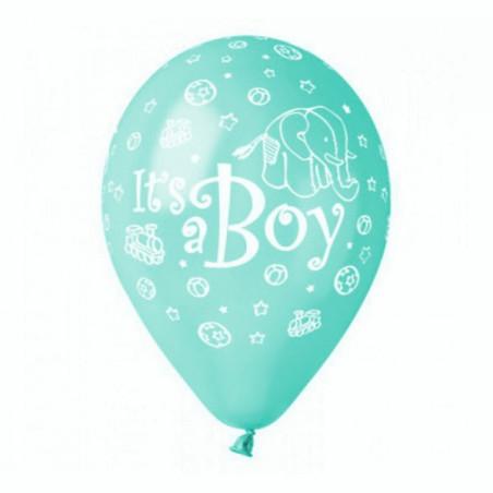Set 100 baloane aqua inscriptionate It's a Boy
