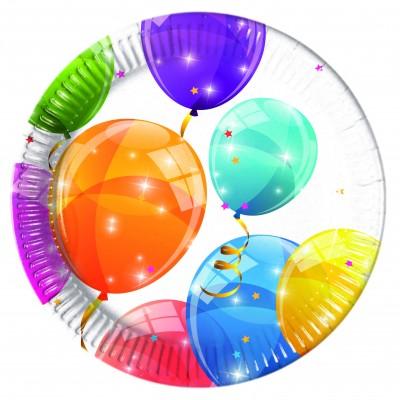 Set 8 farfurii carton 20 cm Sparkling balloons