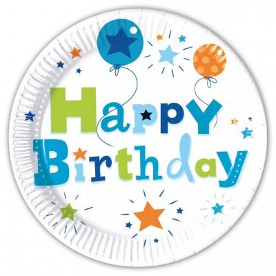 Set 8 farfurii carton 23 cm Happy Birthday Boy