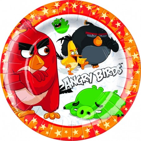 Set 8 farfurii party Angry Birds 18 cm