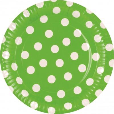 Set 8 farfurii verzi cu buline albe 23cm