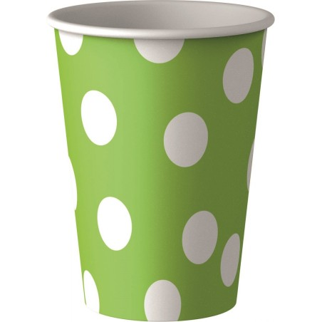 Set 8 pahare party verzi cu buline albe 25 cl