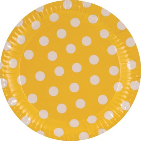 Set 8 farfurii galbene cu buline albe 23cm