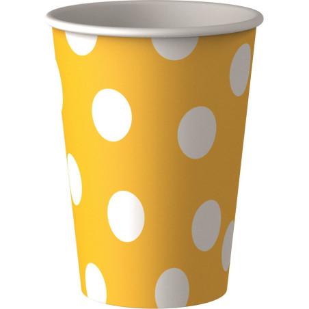 Set 8 pahare party galbene cu buline albe 25 cl