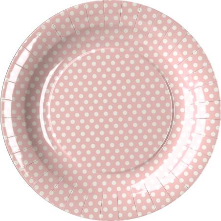 Set 8 farfurii party buline roz 18 cm