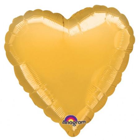 Balon folie 45 cm uni inima aurie