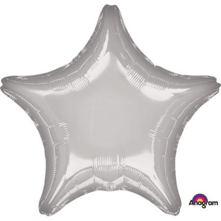 Balon folie 45 cm uni stea argintie
