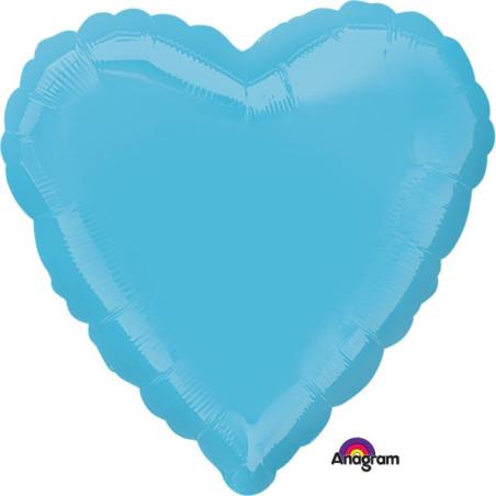 Balon folie 45 cm uni inima albastru azur