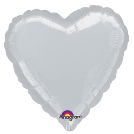 Balon folie 45 cm uni inima argintie