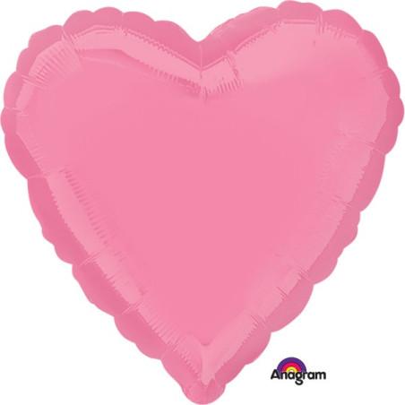 Balon folie 45 cm uni inima Roz Bubble Gum