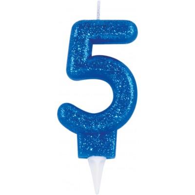 Lumanare cifra 5 glitter albastru