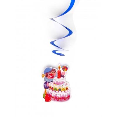 Set 3 decoratiuni spirale agatatoare clovn tort