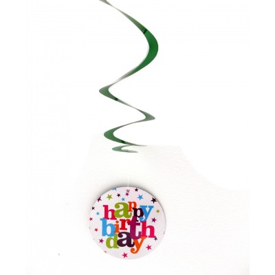 Set 3 decoratiuni spirale agatatoare Happy Birthday