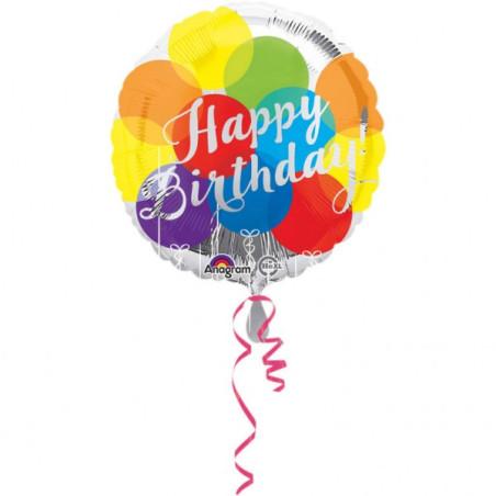 Balon folie 45 cm Happy Birthday Dots