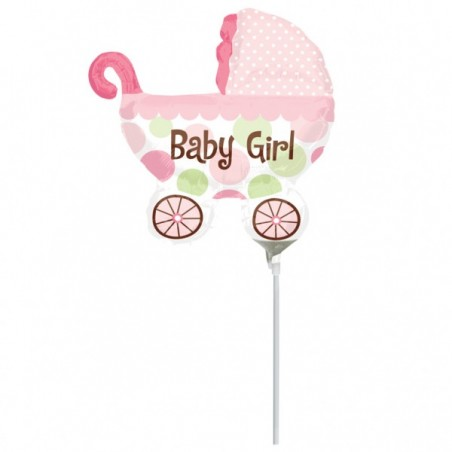 Balon mini figurina carucior Baby Girl