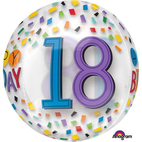 Balon sferic ORBZ 18 ani Happy Birthday Curcubeu