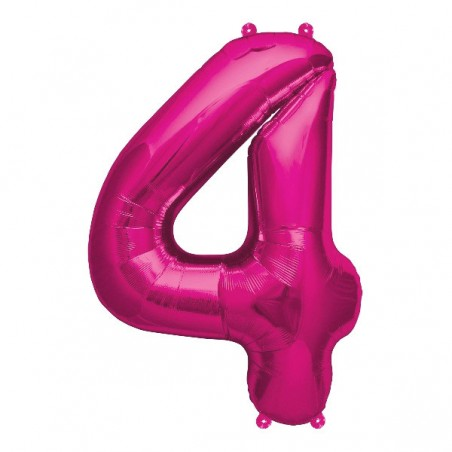 Balon folie figurina fuchsia cifra 4