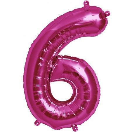 Balon folie figurina fuchsia cifra 6