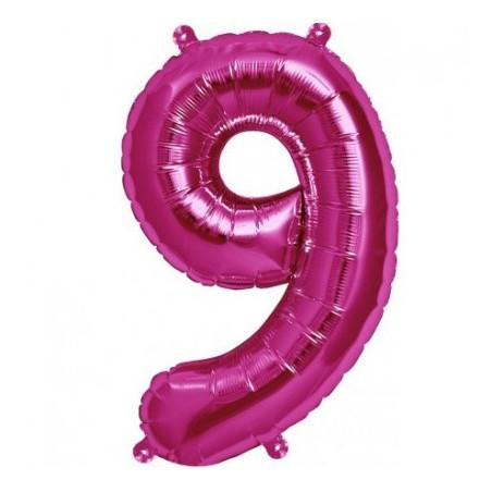 Balon folie figurina fuchsia cifra 9