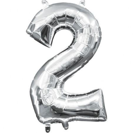 Mini balon folie cifra 2 argintiu 35 cm
