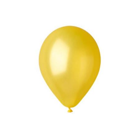 100 baloane rotunde galben metalizate 30 cm