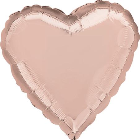 Balon folie 45 cm uni inima Rose Gold