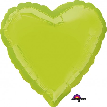 Balon folie 45 cm uni inima verde kiwi