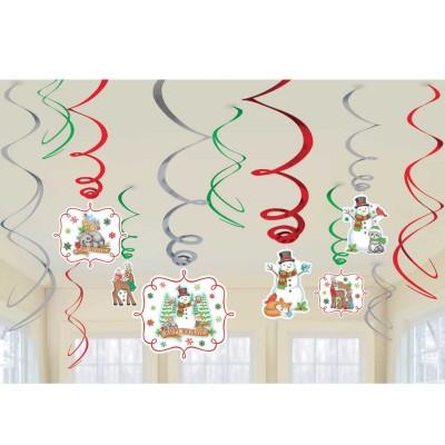 Set 12 decoratiuni spirala Happy Holidays