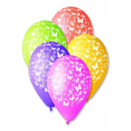 Set 100 baloane asortate inscriptionate flori si fluturi