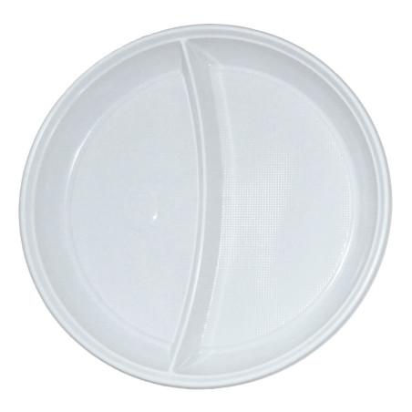 Set 50 farfurii plastic doua compartimente 20.3 cm