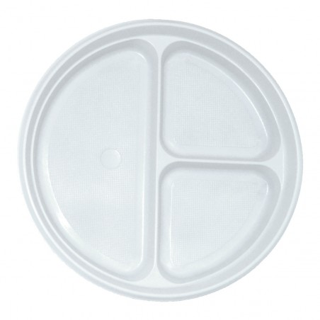 Set 50 farfurii plastic trei compartimente 20.3 cm
