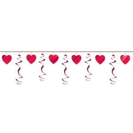 Ghirlanda decorativa inimi rosii
