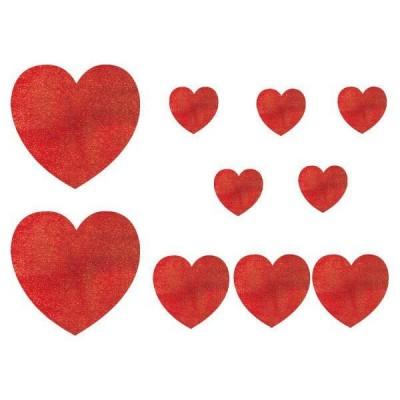 Set 10 decupaje inimi rosii