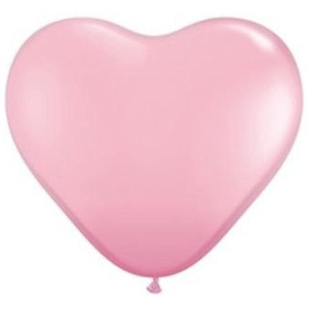 Set 100 baloane latex 25 cm inima roz