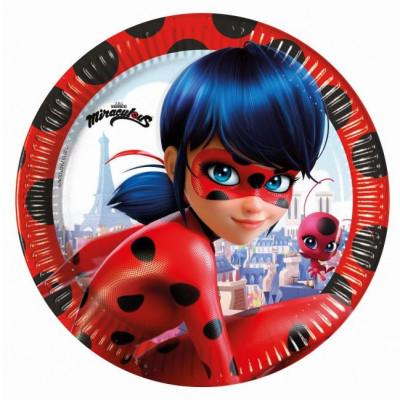 Set 8 farfurii party carton 20 cm Miraculous LadyBug
