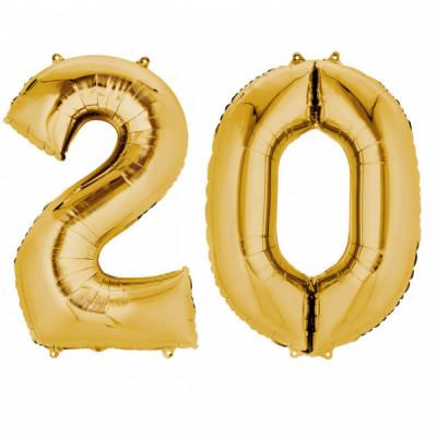 Set baloane folie cifre aurii 20 ani