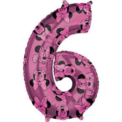Balon folie fuchsia cifra 6 Minnie 66 cm