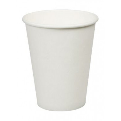 Set 100 pahare albe din carton, capacitate 200 ml