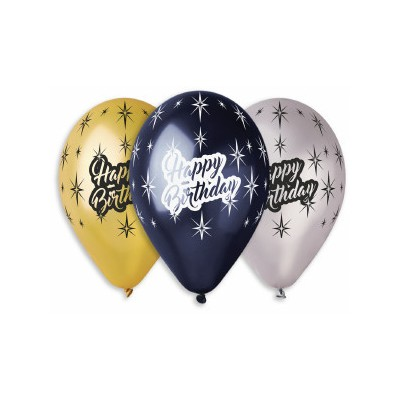 100 baloane metalizate 30 cm inscriptionate Happy Birthday