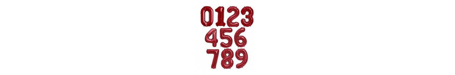 Baloane folie cifre rosii