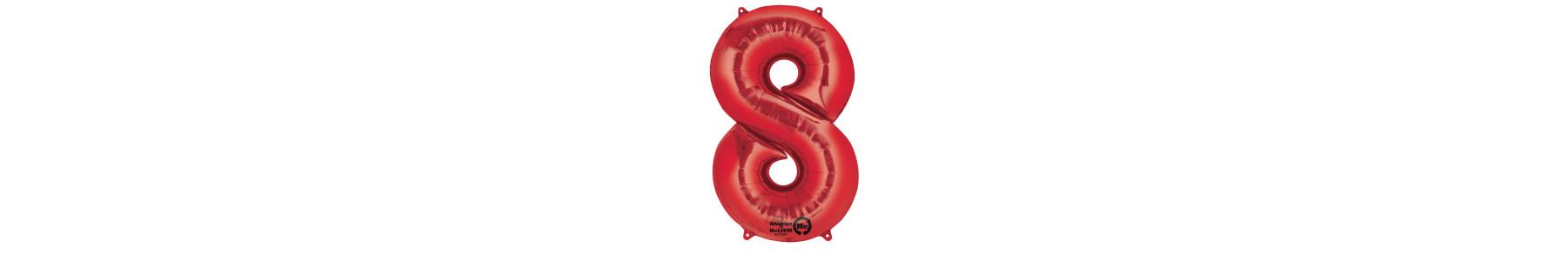 Baloane cifre rosii. Se pot umfla cu heliu