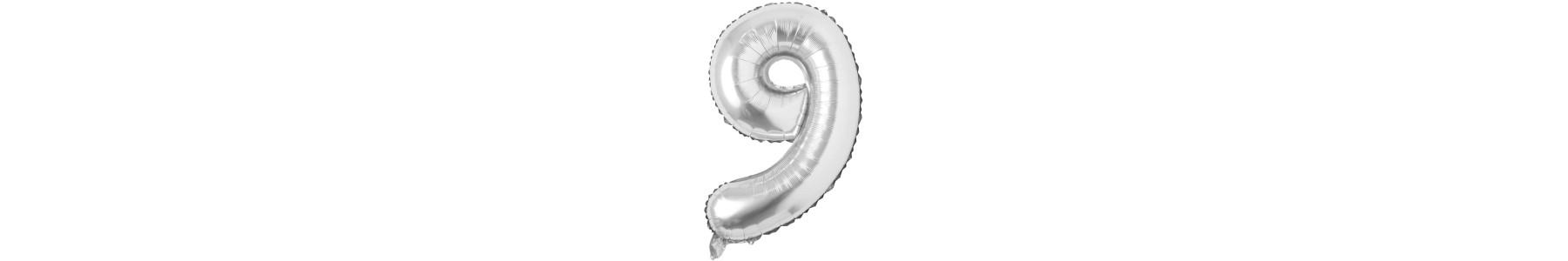 Baloane folie cifre argintii 95 cm